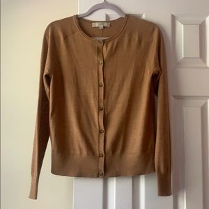 LOFT tan wool blend lightweight cardigan, size M